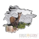 "Andorra Chamois ""Nature Treasures of Andorra"" series 10 Diner Silver Colored Coin 2013 Andorra map Shaped Proof 1 oz"