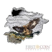 "Andorra Golden Eagle ""Nature Treasures of Andorra"" series 10 Diner Silver Colored Coin 2013 Andorra map Shaped Proof 1 oz"