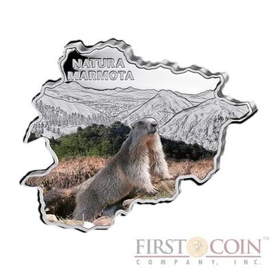 "Andorra Marmot ""Nature Treasures of Andorra"" series 10 Diner Silver Colored Coin 2013 Andorra map Shaped Proof 1 oz"
