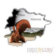 "Andorra Squirrel ""Nature Treasures of Andorra"" series 10 Diner Silver Colored Coin 2013 Andorra map Shaped Proof 1 oz"