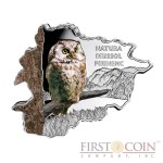 "Andorra Tengmalm's Owl ""Nature Treasures of Andorra"" series 10 Diner Silver Colored Coin 2013 Andorra map Shaped Proof 1 oz"