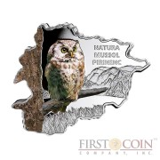 """Andorra Tengmalm's Owl """"Nature Treasures of Andorra"""" series 10 Diner Silver Colored Coin 2013 Andorra map Shaped Proof 1 oz"""