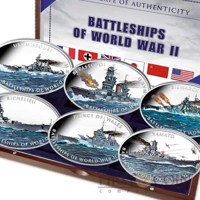 "Tokelau ""Battleships of World War II"" series $6 Cupro-Nickel Set 2013 Six Oval Colored Coins 12 oz"