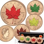 Canada CANADIAN MAPLE LEAF FOUR SEASONS 2016 Four Silver Coin Set $20 GOLD PLATED Edition 4 oz