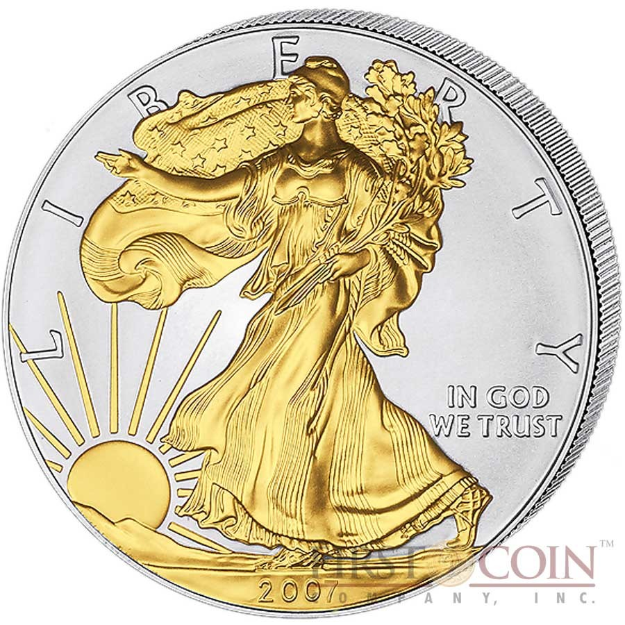 Usa American Silver Eagle 1 Gilded 2007 Silver Coin 1 Oz