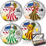 USA American Eagle Four Great Mankind Inventions 4 Four Coin Set $4 Silver 2011 Colored 4 oz