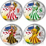 USA American Eagle Four Currency Symbols - Four Seasons 4 Four Coin Set $4 Silver 2012 Colored 4 oz