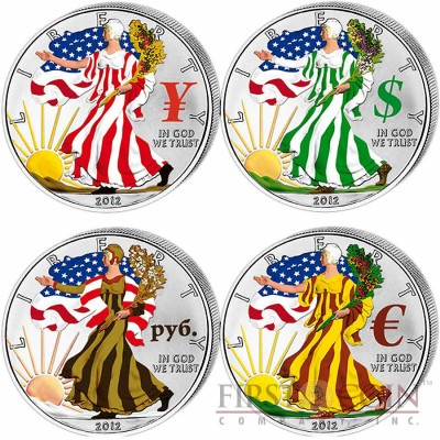 Usa American Eagle Four Currency Symbols Four Seasons 4 Four Coin