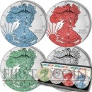 USA American Eagle Four Seasons 4 Four Silver Coin Set $4 Jewel Edition 2015 Emerald Diamond Ruby Sapphire 4 oz