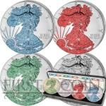 USA American Eagle Four Seasons 4 Four Silver Coin Set $4 Jewel Edition 2015 Emerald Diamond Ruby Sapphire 4 oz