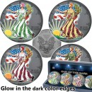 USA OUT OF THE DARK EDITION series FOUR SEASONS American Silver Eagle Walking Liberty 2017 Four Silver Coin Set $4 Ruthenium plated Glow in the Dark 4 oz