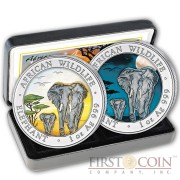 Somalia Elephant Day and Night 200 Shillings series African Wildlife Silver Colored Two coin set 2 oz 2015