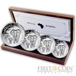 Somalia ELEPHANT SOMALIAN series AFRICAN WILDLIFE 375 Shillings 2015 Four Coin Silver Set 2 oz, 1 oz, 1/2 oz, 1/4 oz Proof 3.75 oz