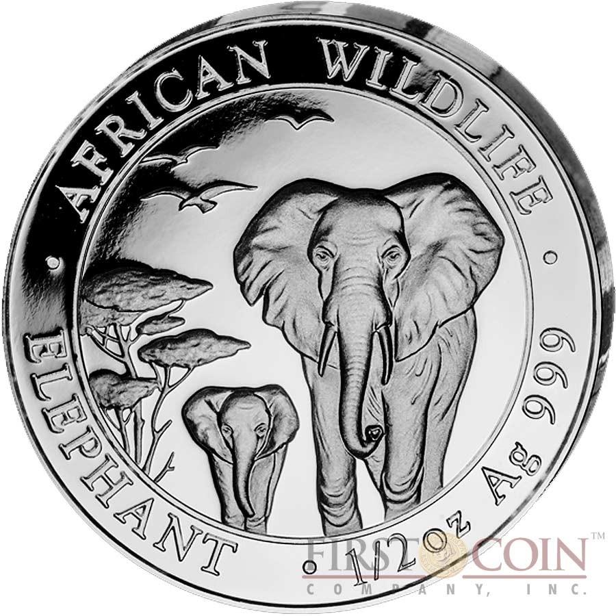 Somalia ELEPHANT SOMALIAN series AFRICAN WILDLIFE 375 Shillings 2015 Four Coin Silver Set 2 oz, 1 oz, 1/2 oz, 1/4 oz Proof 3.75 oz