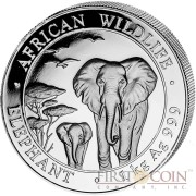 Somalia Elephant 2000 Shillings series African Wildlife series 2015 Silver Coin 1 Kilo / Kg