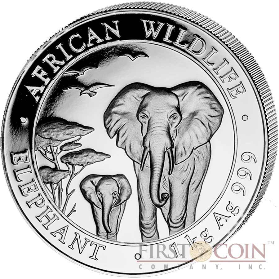 2013 Somalian African Elephant 1oz Silver Bullion Coin 100 Schillings