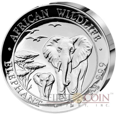 Somalia Elephant 100 Shillings  African Wildlife series Ultra High Relief Silver Coin 2015 Proof 1 oz