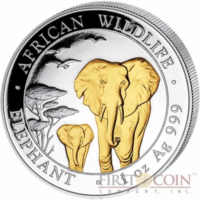 Somalia Elephant 100 Shillings series African Wildlife Gilded Silver 1 oz Coin 2015