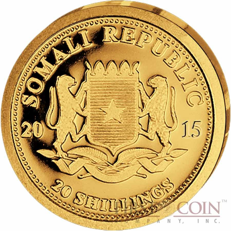 Somalia Elephant 20 Shillings series African Wildlife Gold 1/50 oz Coin 2015 Proof