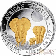 Somalia Elephant 100 Shillings series African Wildlife Gilded Silver 1 oz Coin 2014