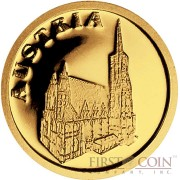 "Liberia AUSTRIA $12 ""European Collection"" series Gold coin 2008 Proof"