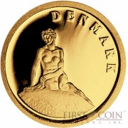 "Liberia DENMARK $12 ""European Collection"" series Gold coin 2008 Proof"