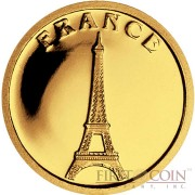 "Liberia FRANCE $12 ""European Collection"" series Gold coin 2008 Proof"