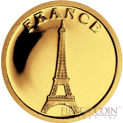 """Liberia FRANCE $12 """"European Collection"""" series Gold coin 2008 Proof"""