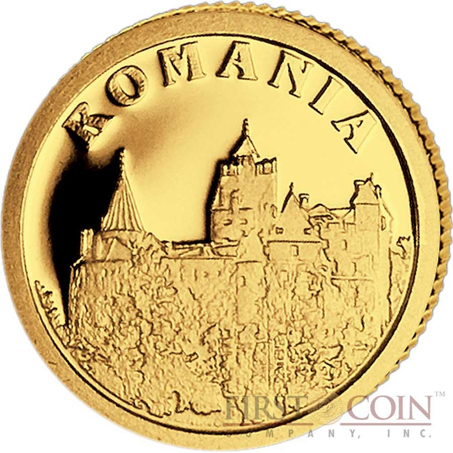 "Liberia ROMANIA $12 ""European Collection"" series Gold coin 2008 Proof"