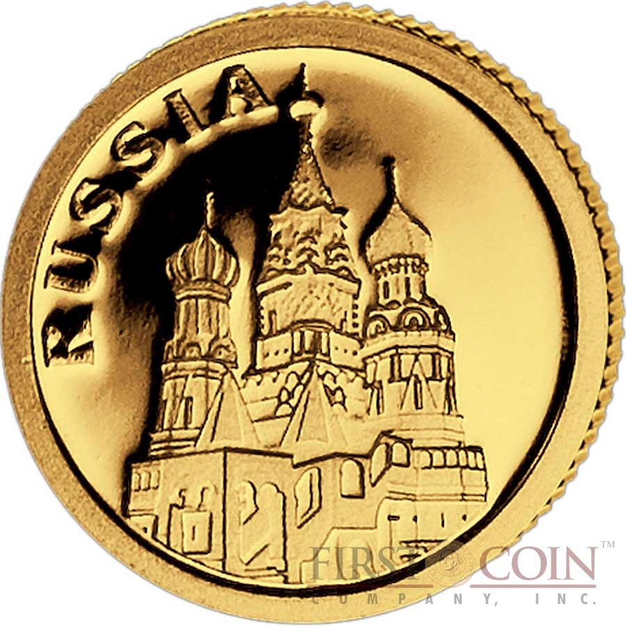 """Liberia RUSSIA $12 """"European Collection"""" series Gold coin 2008 Proof"""