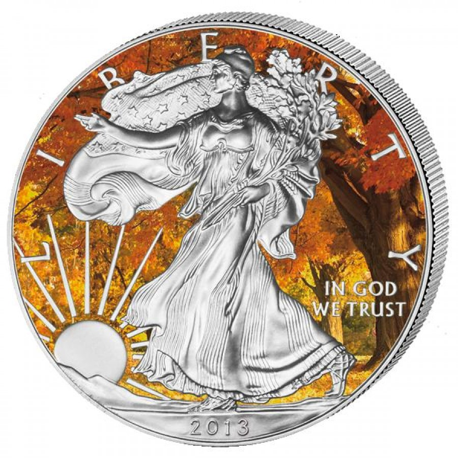 Usa American Silver Eagle Four Seasons Colored 4 Four Coin
