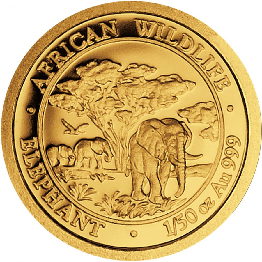 Somalia Elephant 20 Shillings series African Wildlife Gold 1/50 oz Coin 2012 Proof