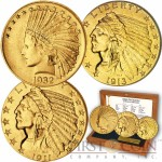 USA INDIAN HEAD-INDIAN CHIEF $2.5, $5, $10 Three Gold Coin Set 1907-1933