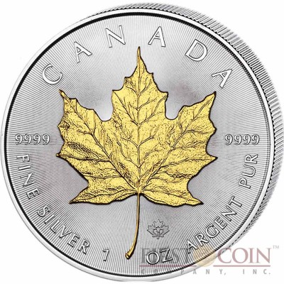 2014 1 Oz Silver CANADIAN SUN MAPLE Coin WITH 24k Gold Gilded IN CAPSULE..
