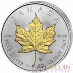 Canada Maple Leaf Canadian $5 Gilded 2015 Silver coin 1 oz
