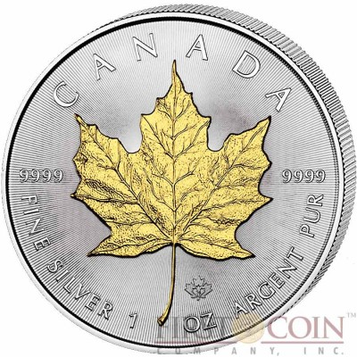 Canada Maple Leaf Canadian $5 Gilded 2015 Silver coin 1 oz