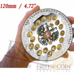 Cook Islands Romanov Dynasty Russian Royal Family 400 Anniversary $100 Silver Coin 1 Kilo/kg Gold Plating 24K Gold Colored Proof 2013