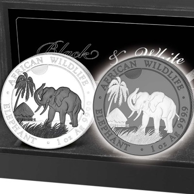 Somalia DAY and NIGHT SOMALIAN ELEPHANTS series AFRICAN WILDLIFE 200 Shillings Two Coin Silver Set 2017 Ruthenium plated Proof 2 oz