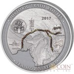 Cameroon TEA ROAD series HISTORIC TRADE ROUTES Giant Silver Coin 5000 Francs Antique finish 2017 Real Tea inlay 5 oz