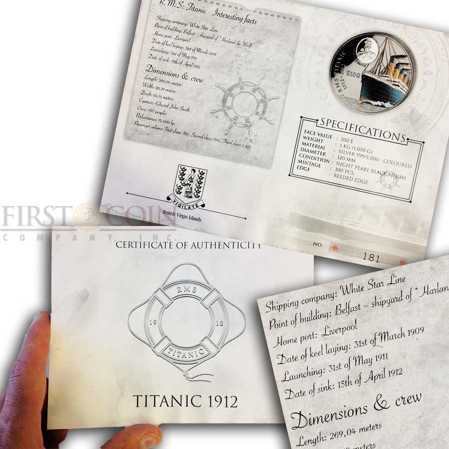 British Virgin Islands Titanic 1 Kilo/Kg Black Silver Colored Coin 100 Years Anniversary 2012 Proof