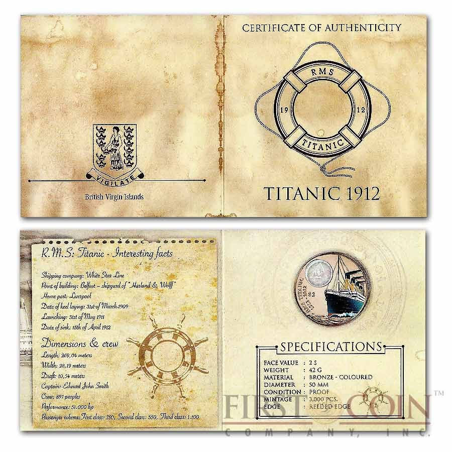 British Virgin Islands Titanic $2 Colored Bronze coin Proof 2012