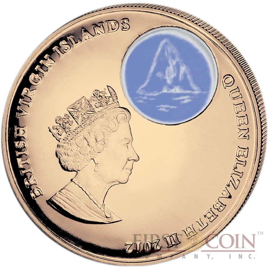 British Virgin Islands Titanic at Night $2 Colored Bronze coin Proof 2012