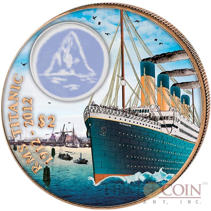 British Virgin Islands Titanic Leaving $2 Colored Bronze coin Proof 2012