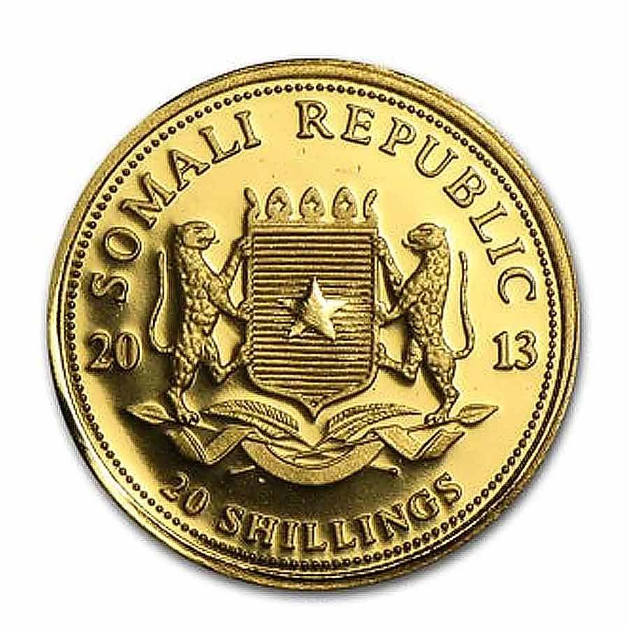 Somalia Elephant 20 Shillings series African Wildlife Gold 1/50 oz Coin 2013 Proof