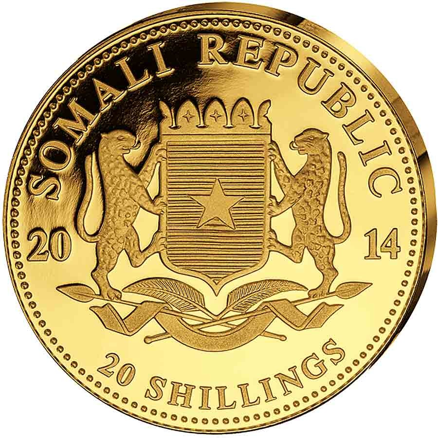 Somalia Elephant 20 Shillings series African Wildlife Gold 1/50 oz Coin 2014 Proof