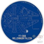 Niue Island MILLENNIUM FALCON series STAR WARS SHIPS $2 Silver Coin 2017 Proof 1 oz