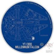 Niue Island MILLENNIUM FALCON series STAR WARS SHIPS $2 Silver Coin 2017 Proof 1 oz
