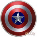 Fiji CAPTAIN AMERICA DOMED SHIELD Marvel Avengers $2 Silver coin 2016 Convex Concave shaped Proof 2 oz