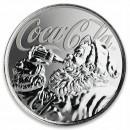 Fiji COCA-COLA SANTA CLAUS $1 Silver Coin 2019 Proof 1 oz
