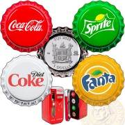 Fiji COCA-COLA FANTA SPRITE COKE-DIET 4 Silver Coin Set $1 x 4 Bottle Cap Shaped 2020 Proof